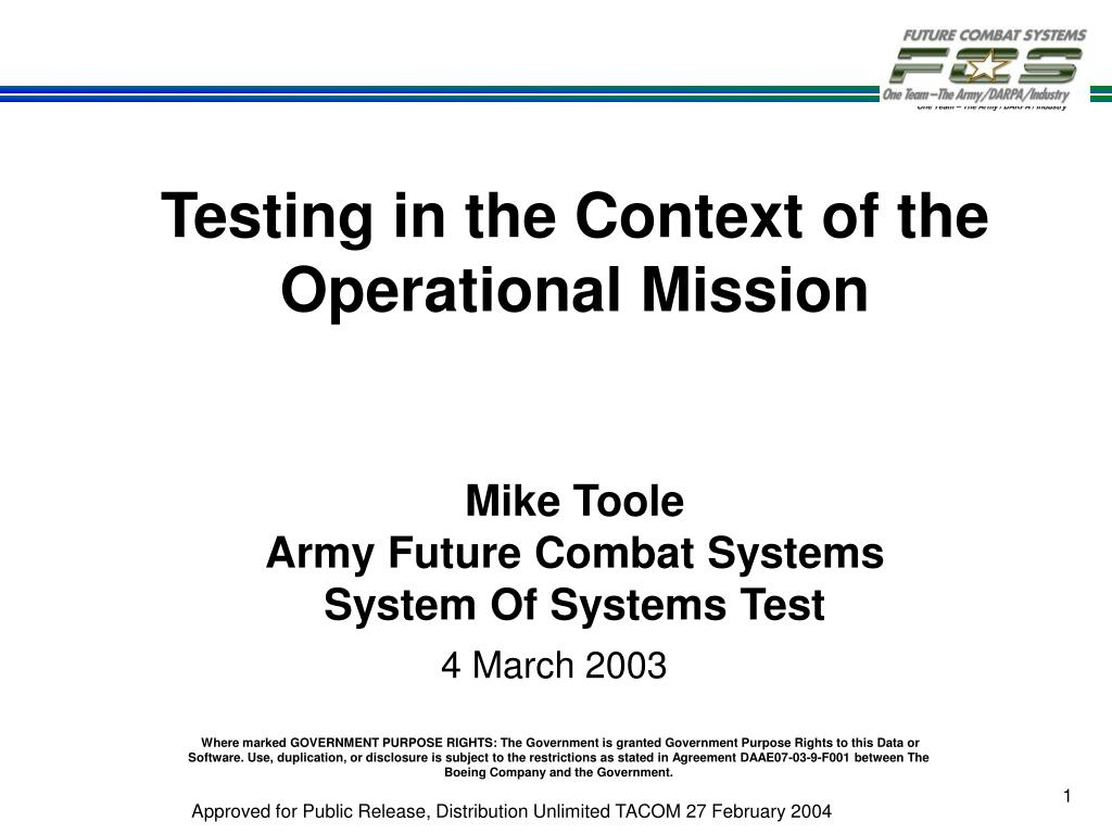 Testing in the Context of the Operational Mission