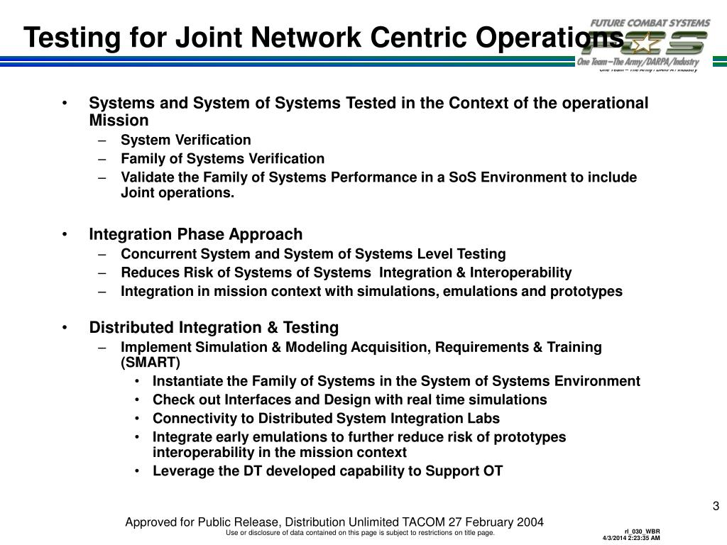 Testing for Joint Network Centric Operations