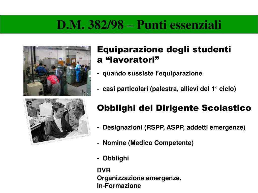 D.M. 382/98 – Punti essenziali