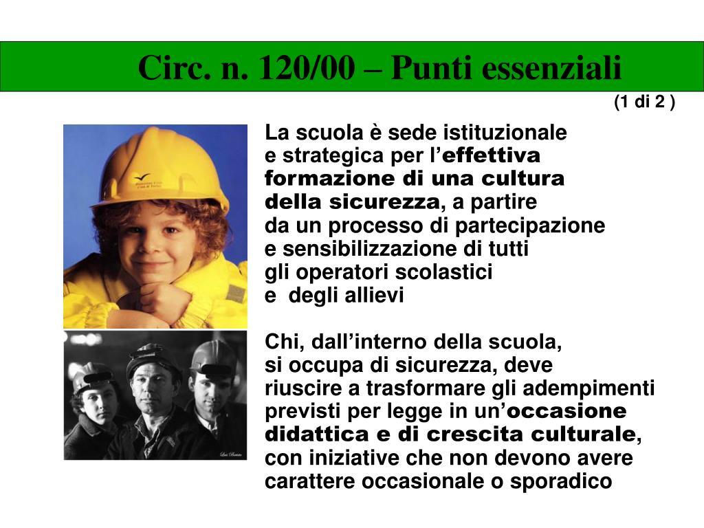 Circ. n. 120/00 – Punti essenziali