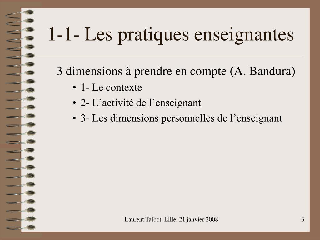 1-1- Les pratiques enseignantes