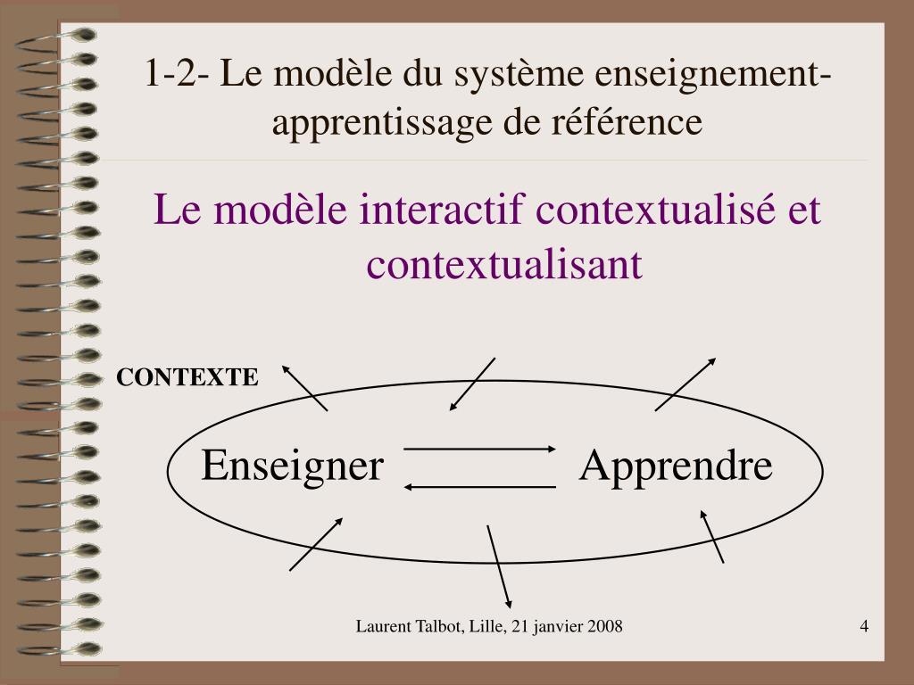 1-2- Le modèle du système enseignement-apprentissage de référence