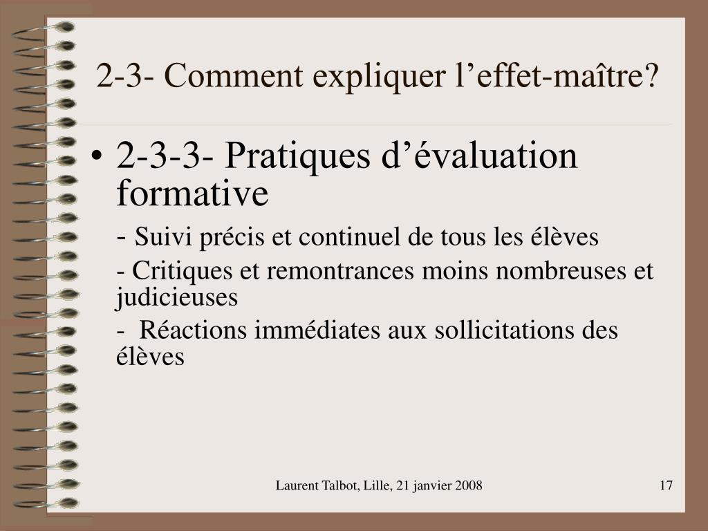 2-3- Comment expliquer l'effet-maître?