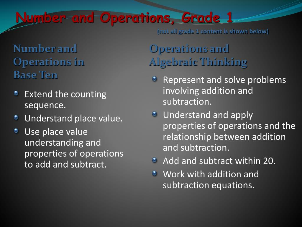 Number and Operations, Grade 1