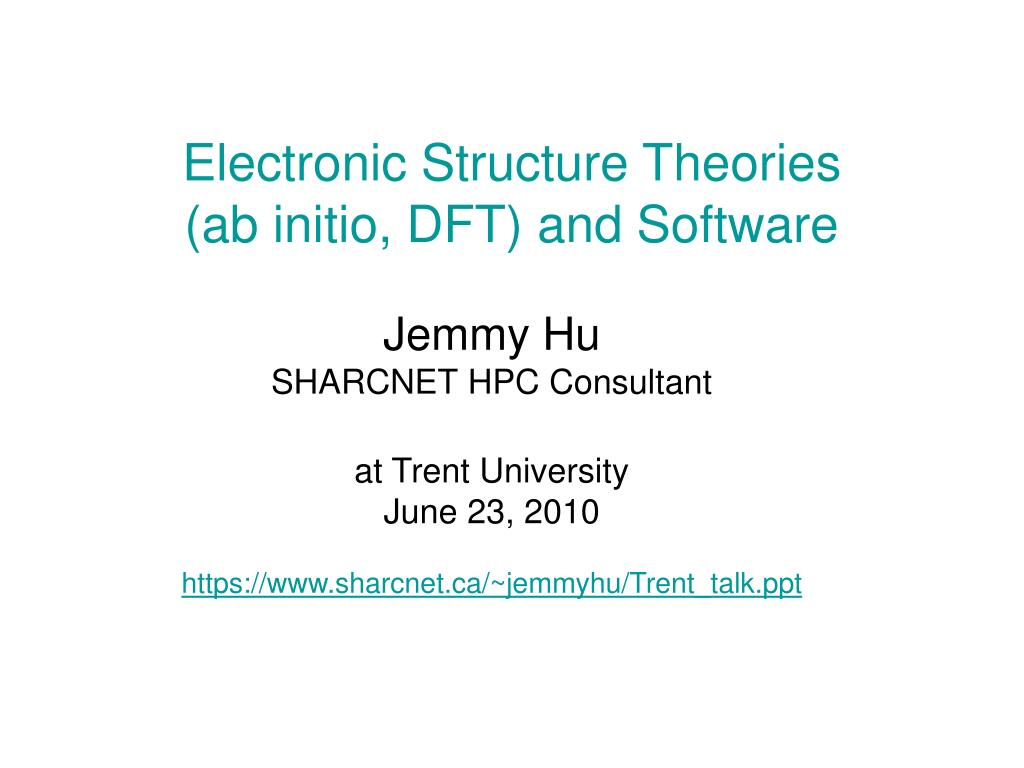 Electronic Structure Theories