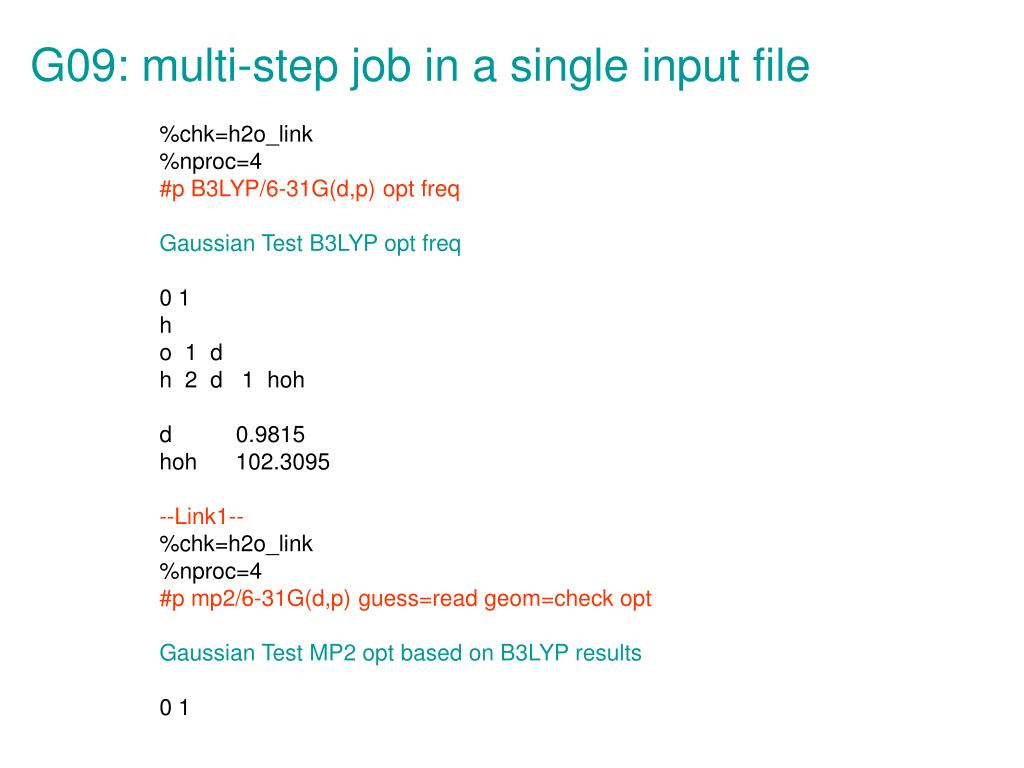 G09: multi-step job in a single input file