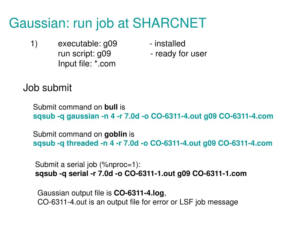 Gaussian: run job at SHARCNET