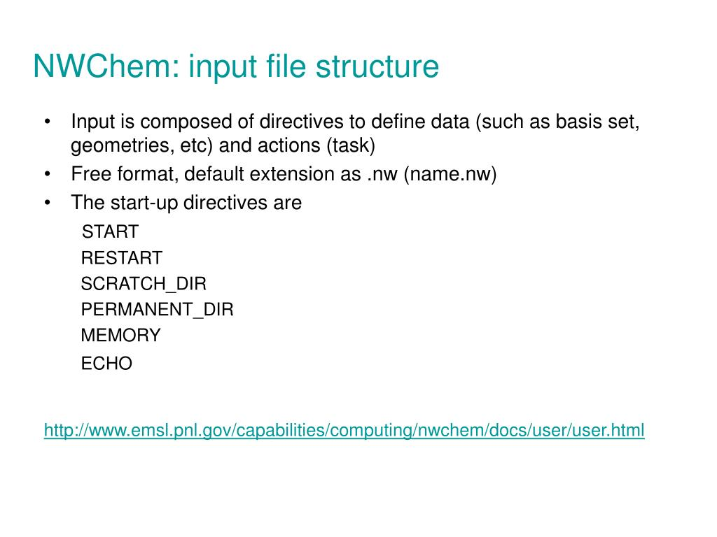 NWChem: input file structure