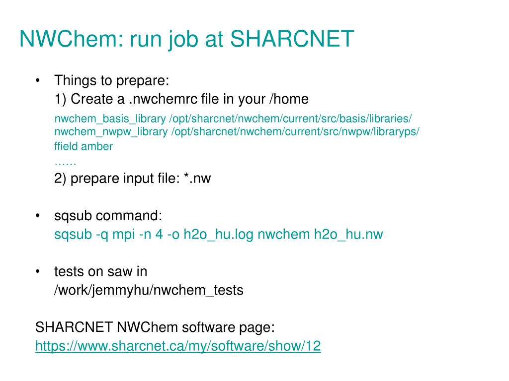 NWChem: run job at SHARCNET