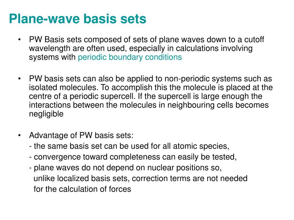 Plane-wave basis sets