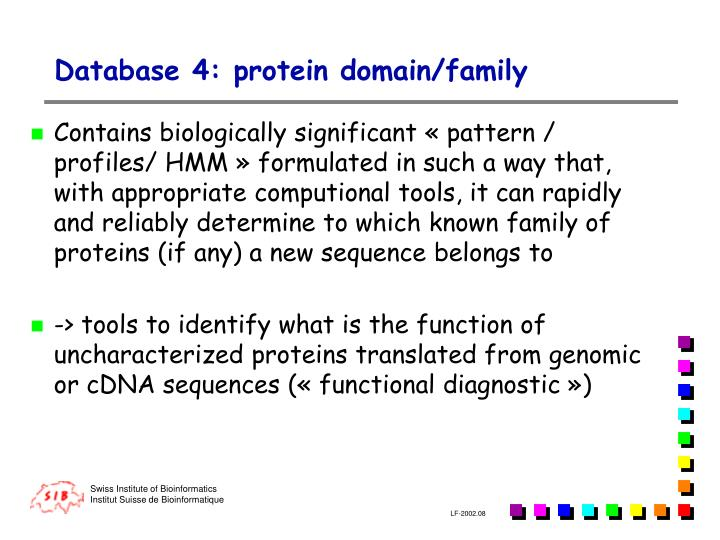 Database 4 protein domain family