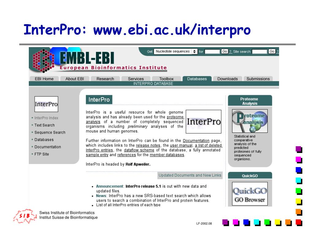 InterPro: www.ebi.ac.uk/interpro