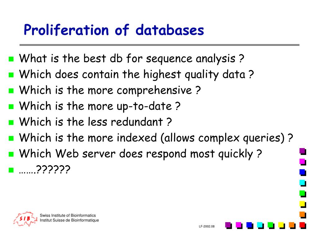 Proliferation of databases