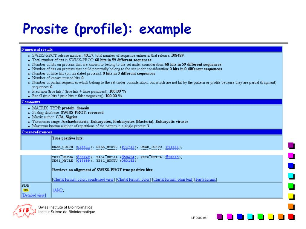 Prosite (profile): example