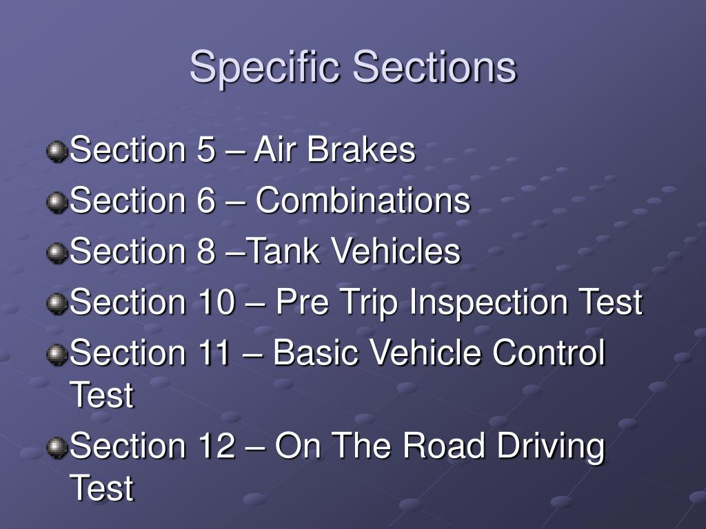 Specific Sections