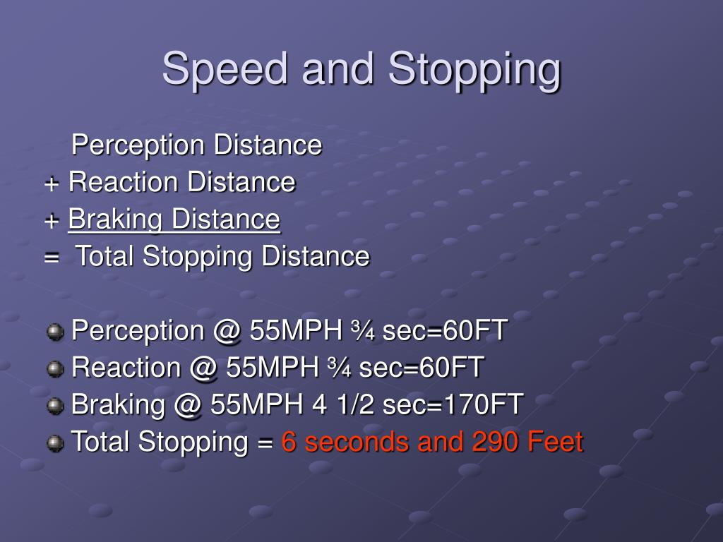 Speed and Stopping