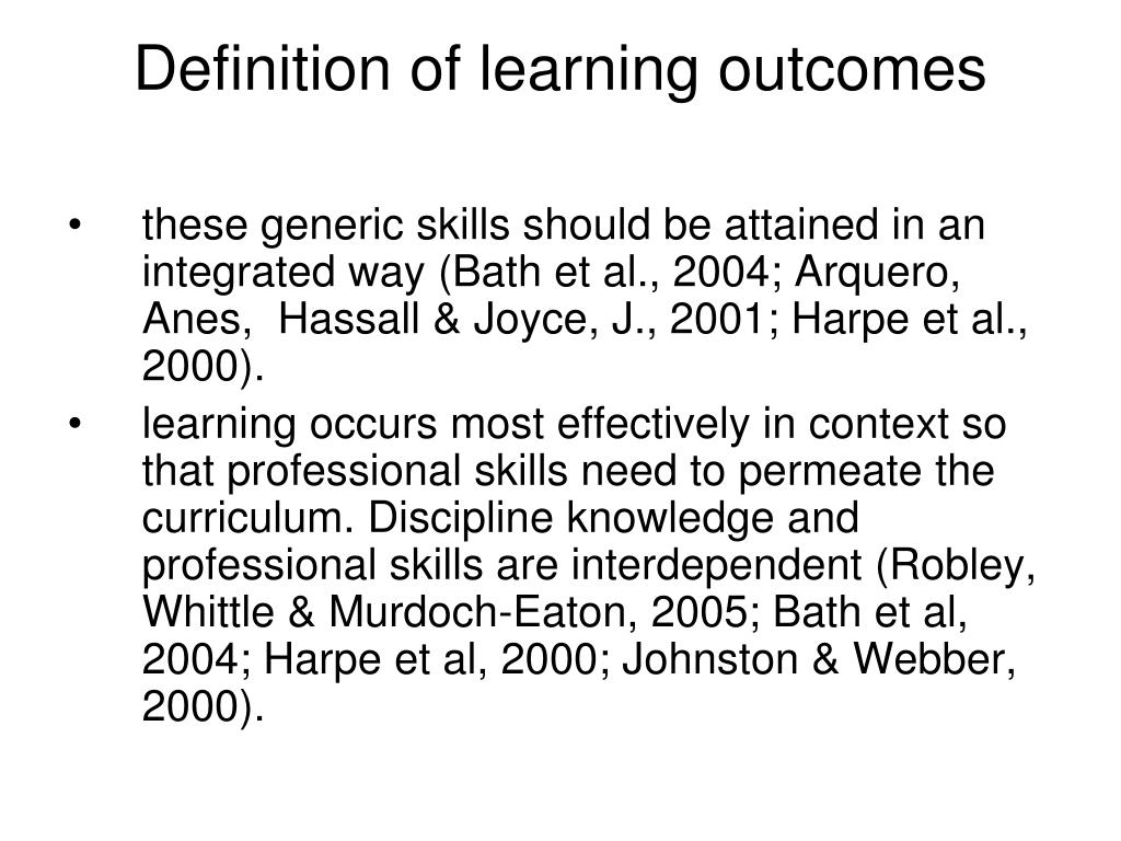 Definition of learning outcomes