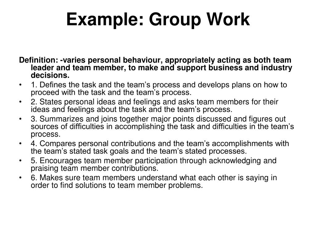 Example: Group Work