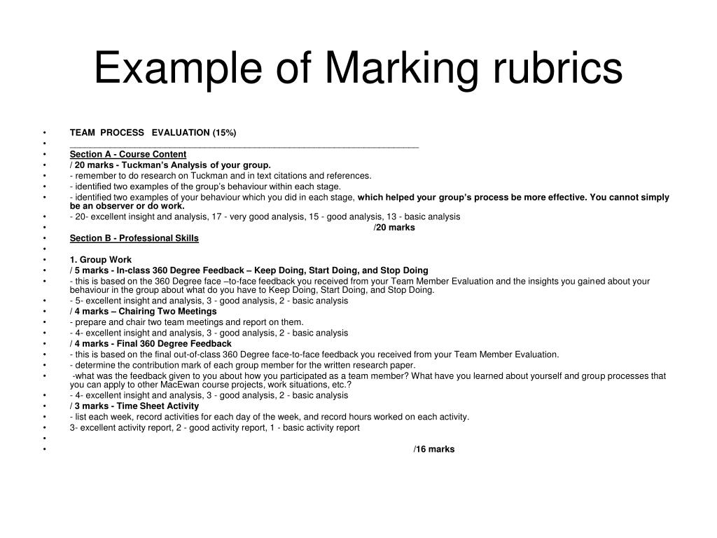 Example of Marking rubrics