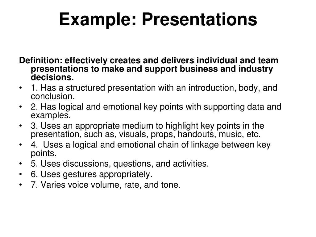 Example: Presentations