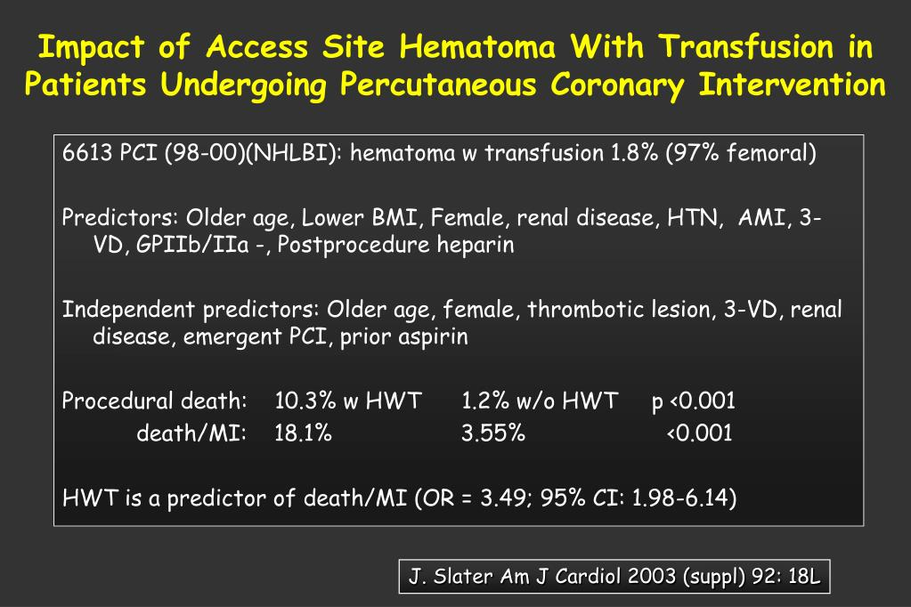Impact of Access Site Hematoma With Transfusion in Patients Undergoing Percutaneous Coronary Intervention