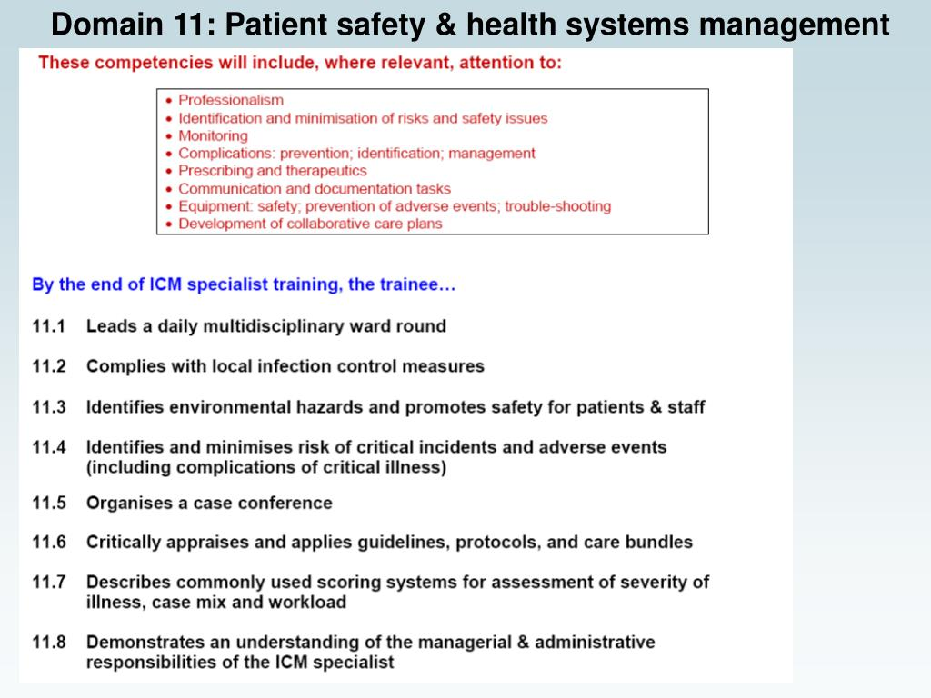 Domain 11: Patient safety & health systems management
