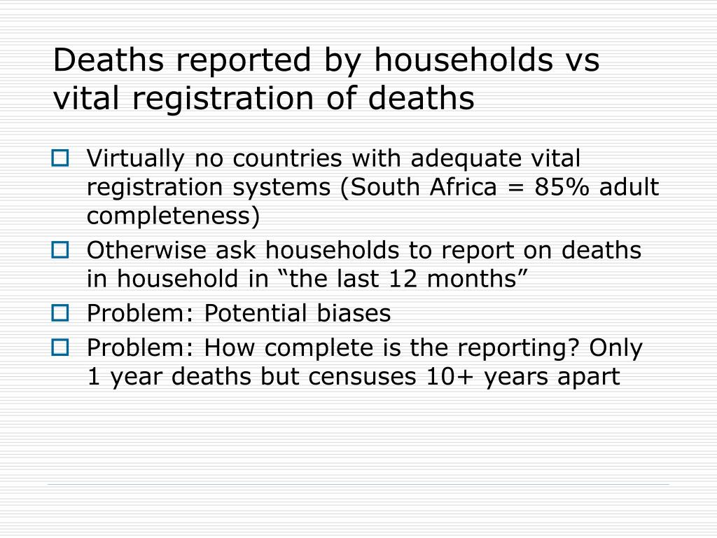 Deaths reported by households vs vital registration of deaths