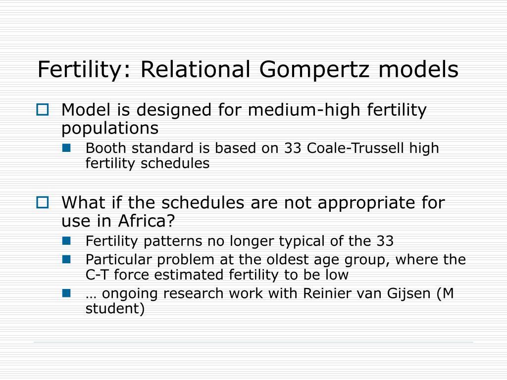 Fertility: Relational Gompertz models