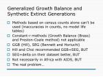 generalized growth balance and synthetic extinct generations