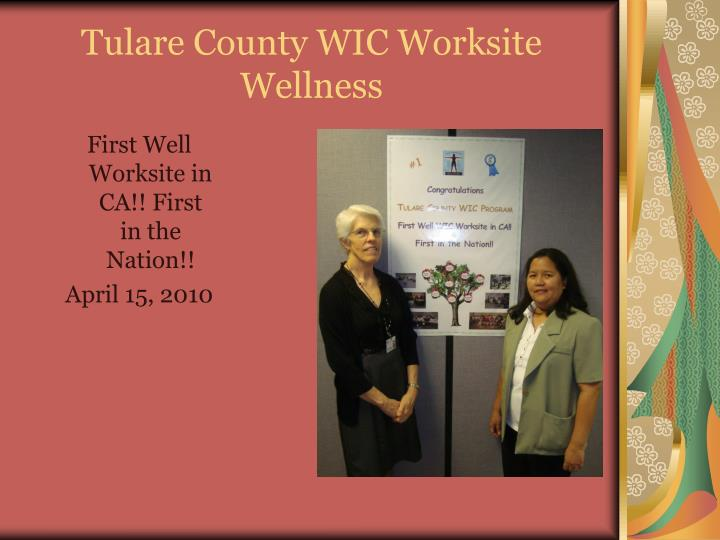 Tulare county wic worksite wellness