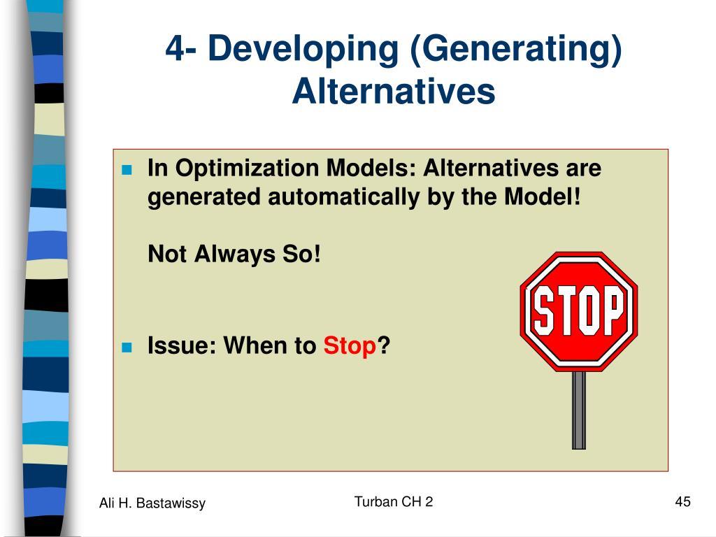 4- Developing (Generating) Alternatives