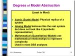 degrees of model abstraction