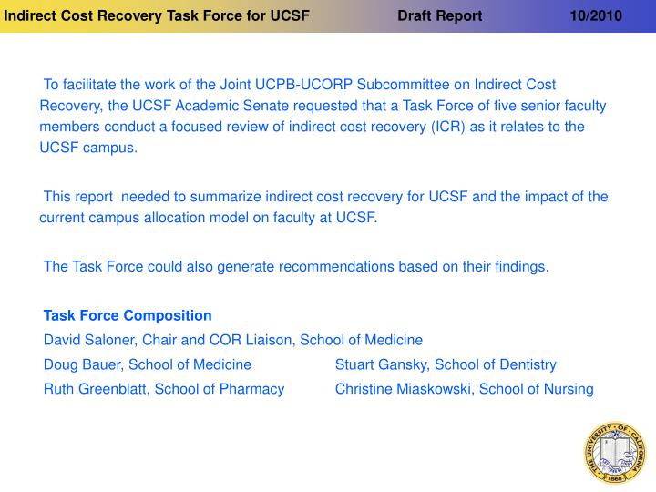 Indirect cost recovery task force for ucsf draft report 10 2010