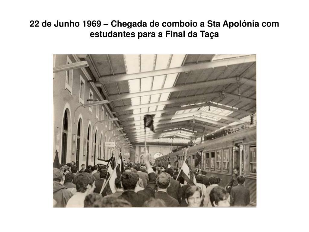 22 de Junho 1969 – Chegada de comboio a Sta Apolónia com estudantes para a Final da Taça