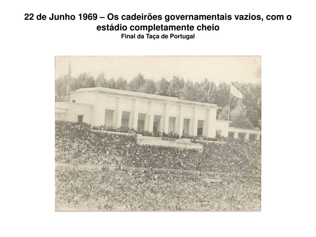 22 de Junho 1969 – Os cadeirões governamentais vazios, com o estádio completamente cheio