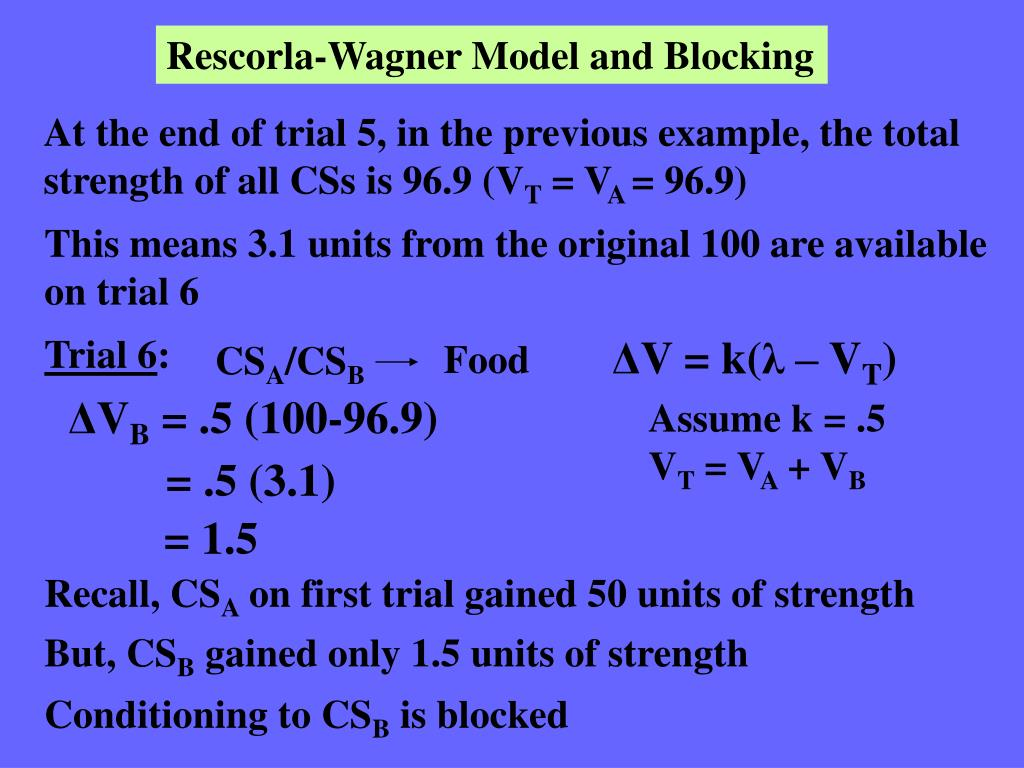 Rescorla-Wagner Model and Blocking
