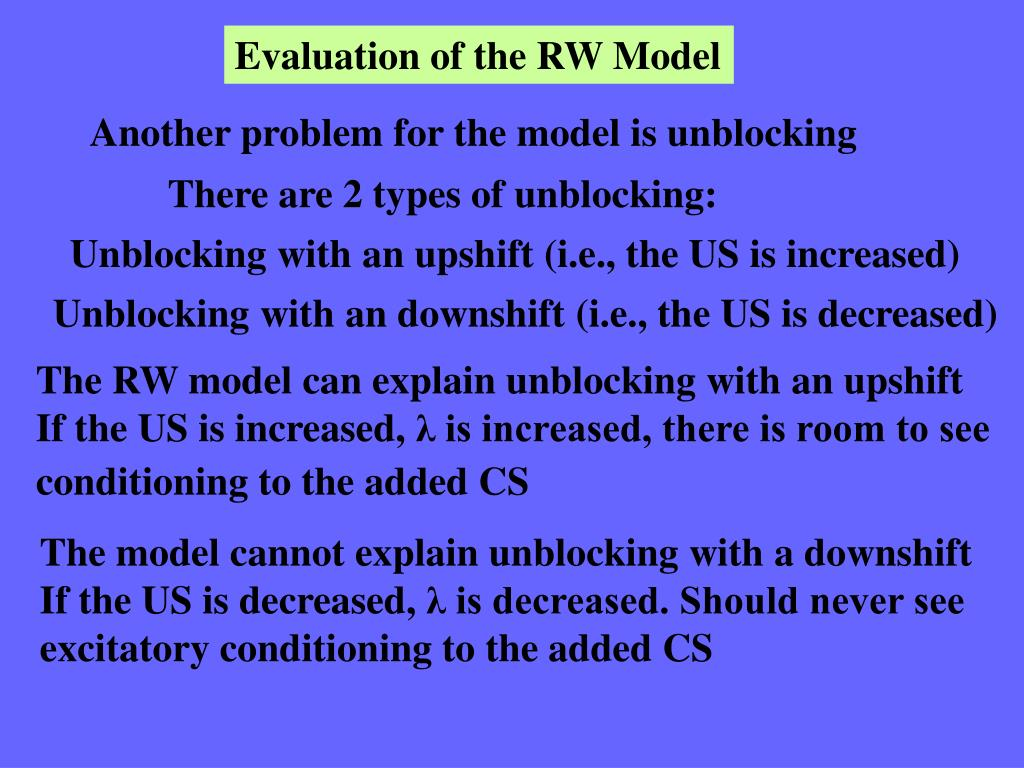 Evaluation of the RW Model