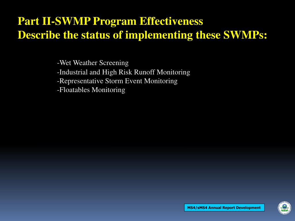 Part II-SWMP Program Effectiveness