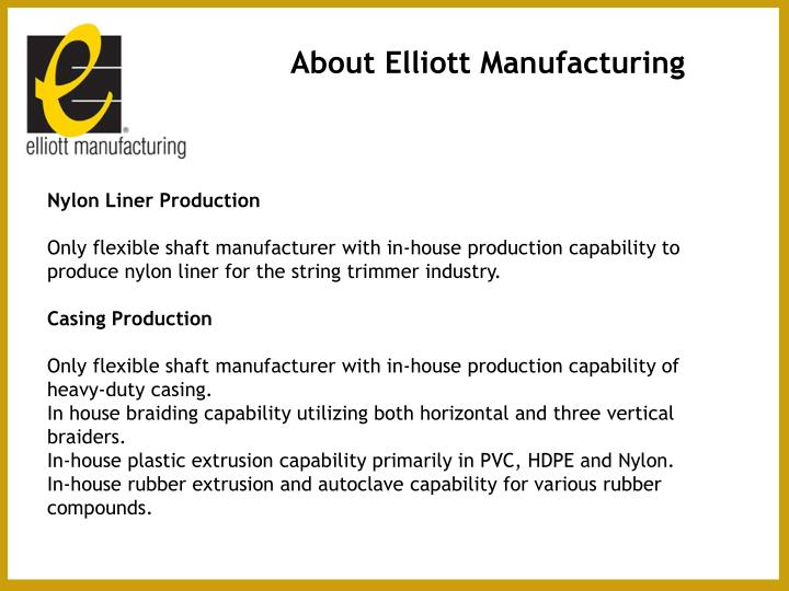 About Elliott Manufacturing