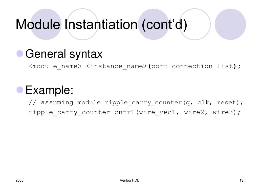 Module Instantiation (cont'd)