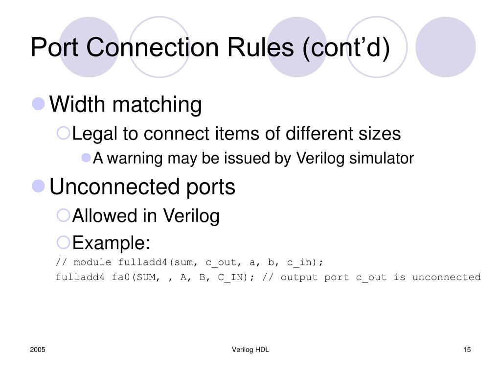Port Connection Rules (cont'd)