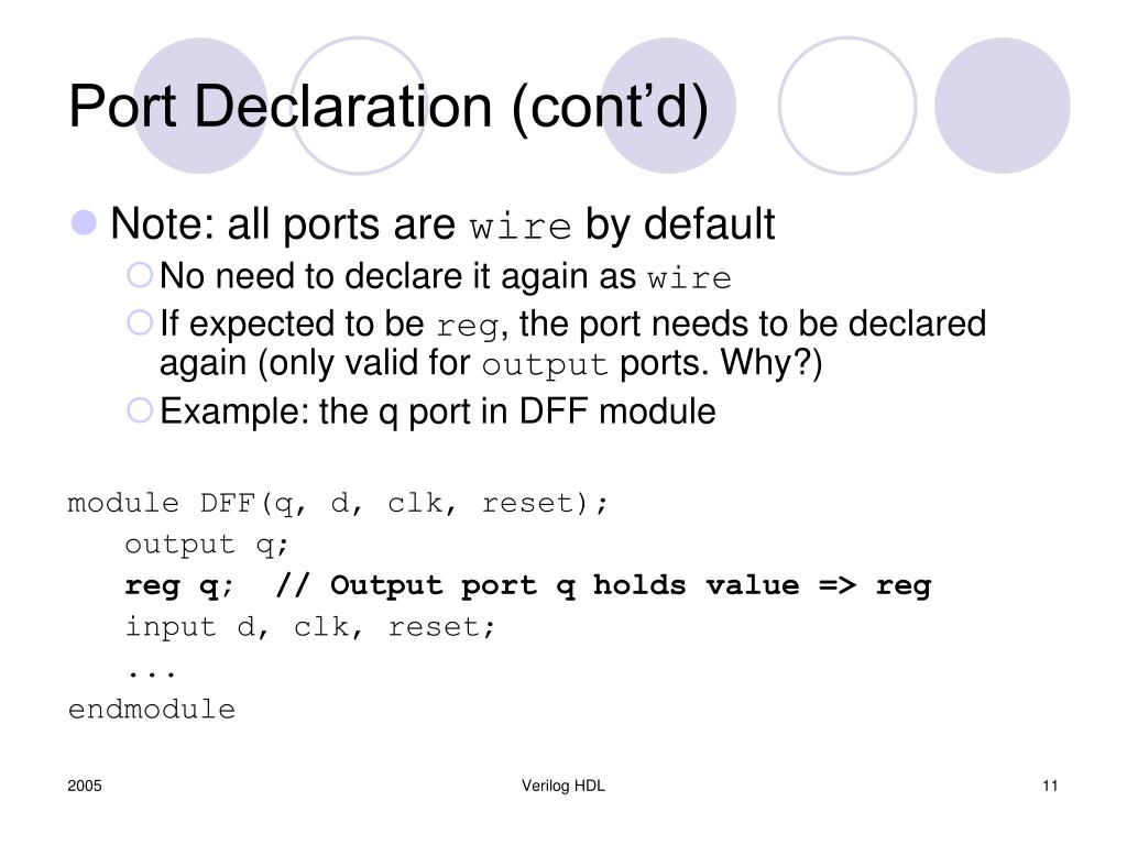Port Declaration (cont'd)