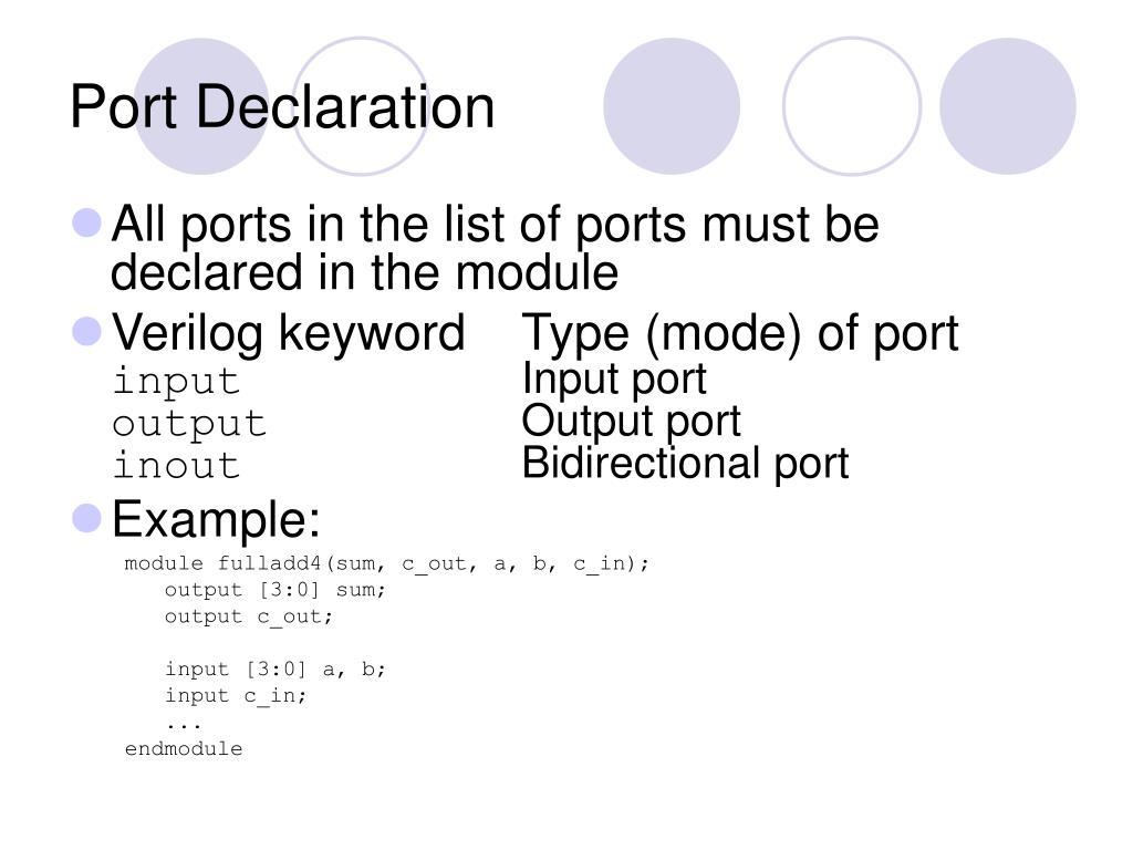 Port Declaration