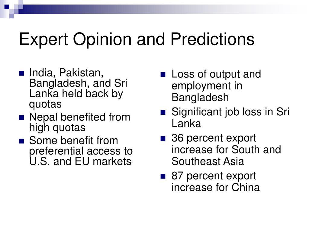 India, Pakistan, Bangladesh, and Sri Lanka held back by quotas