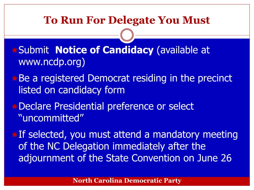 To Run For Delegate You Must