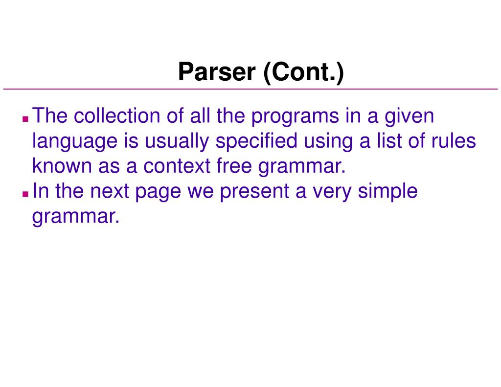 Parser (Cont.)