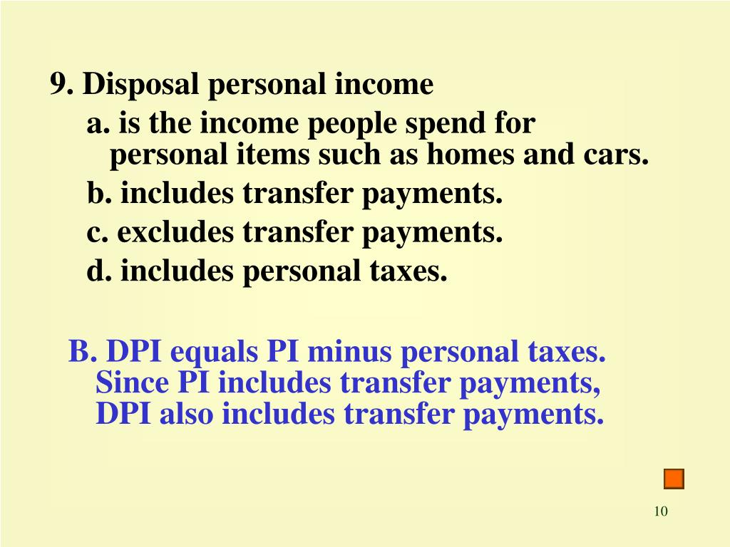 9. Disposal personal income