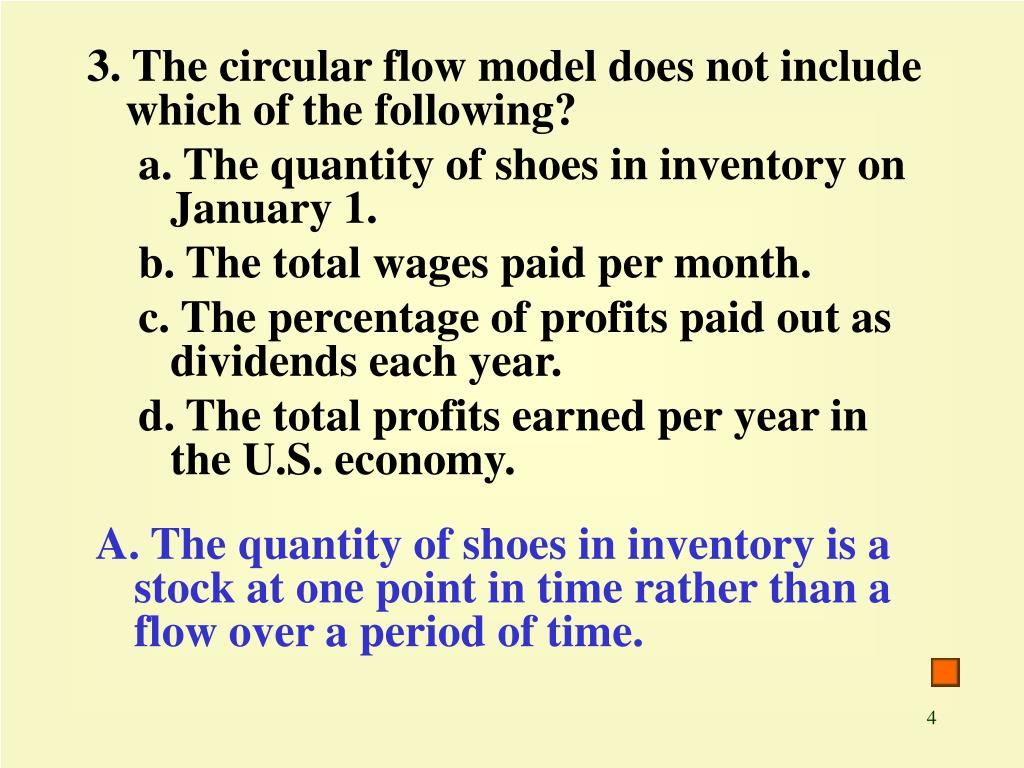 3. The circular flow model does not include which of the following?