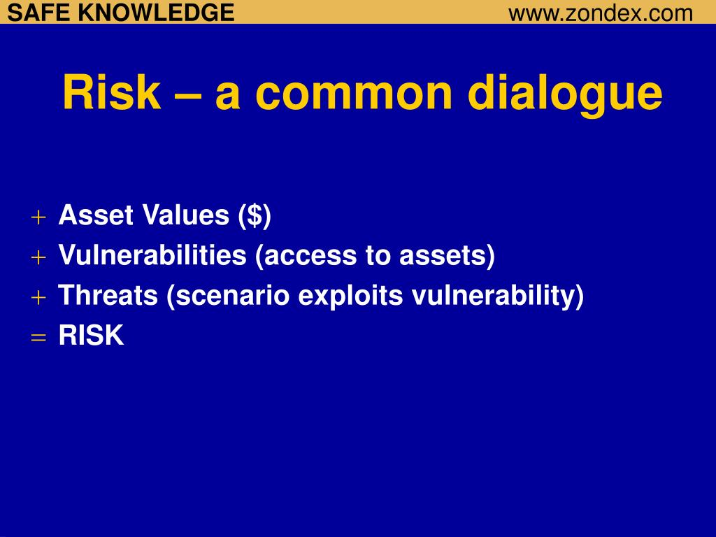 Risk – a common dialogue