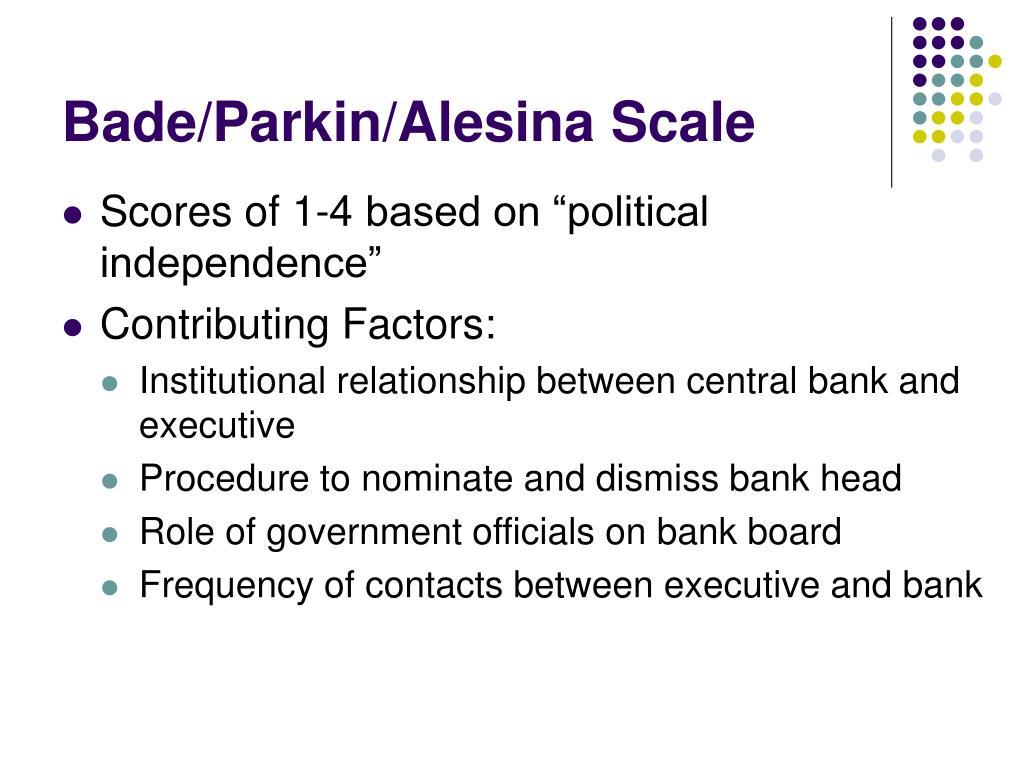 Bade/Parkin/Alesina Scale
